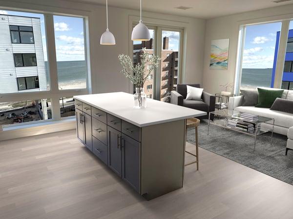 90o Revere Beach apartments - living room