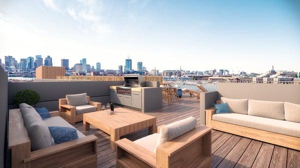 MIRA East Boston Condos - roof deck