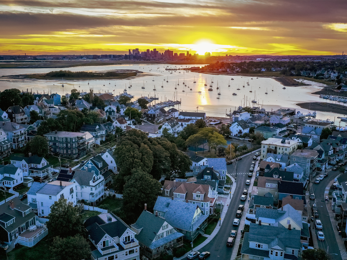 Aerial view of the Boston skyline from Orient Height East Boston and Winthrop area