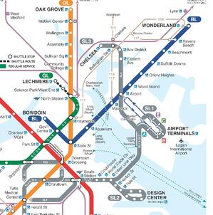 MBTA subway map including the Blue Line from East Boston